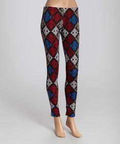 This Red & Gray Diamond Flourish Leggings is perfect! #zulilyfinds
