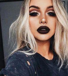 Kiss Makeup, Cute Makeup, Gorgeous Makeup, Black Lipstick Makeup, Soft Grunge Makeup, Grunge Makeup Tutorial, Dark Lipstick, Makeup Lips, Glitter Makeup