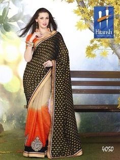 Saree :: Trendy Half and Half Beige Orange and Black Saree with Orange Blouse. Orange Blouse, Black Saree, Chiffon, Sari, Beige, How To Wear, Wednesday, Color, Fabrics