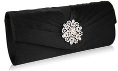 Diamante detail to the front flap. Pleats to the front, plain to the back. Lined with an internal pocket. 2 detachable chains measuring and Size (cm): wide x 11 high x 5 deep Black Clutch Bags, Bridal Clutch, Black Tie Affair, Black Crystals, Black Satin, Evening Bags, Purses, Accessories, Designer Clutch