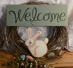 free primitive images to paint on wood | Welcome Green Bunny Painted Wood Primitive by 2ChicksAndABasket