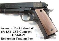 Rock Island 1911 .45 Compact Armscorp 3 12 in Blue NIB Colt Officer's for sale (992275553)