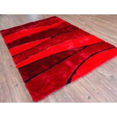 Rug Factory Plus Living Shag Hand-Tufted Red Area Rug