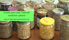Build your own natural medicine cabinet! This is all you need to make that first step into taking control of your natural health. A list of 12 herbs to have on hand, essential oils, and various natural sundries to have on hand for when you need them.