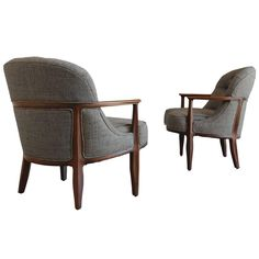 """Pair of """"Janus"""" Chairs by Edward Wormley for Dunbar   From a unique collection of antique and modern lounge-chairs at https://www.1stdibs.com/furniture/seating/lounge-chairs/"""