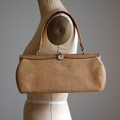 1940s BUTTERSCOTH suede framed handbag
