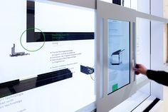Schüco shows a mediatectonic stand design on BAU 2013 - 8 Very tech-oriented trade show design. Exhibition Room, Interactive Exhibition, Interactive Walls, Interactive Display, Interactive Installation, Artistic Installation, Interactive Design, Interactive Media, Stand Design