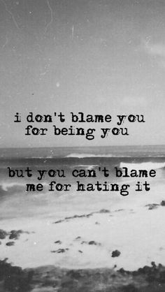 I dont blame you for being you, But you can't blame me for hating it