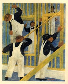 Ben Shahn for Fortune magazine. Nice rhythm and color. Gives a feeling of work and movement.