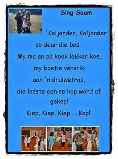 Koljander, koljander, so deur die bos . Preschool Church Crafts, Grade R Worksheets, Kids Poems, Children Songs, Rhymes Songs, Educational Activities For Kids, Rhymes For Kids, Music For Kids, Afrikaans