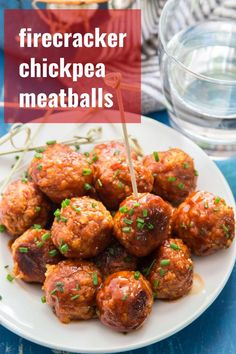 These vegan chickpea meatballs pack a mighty flavor punch! Smothered in sweet and spicy firecracker sauce and served with a sprinkling of fresh chives, they're perfect in a sandwich or as an appetizer for party snacking. Veggie Recipes, Whole Food Recipes, Vegetarian Recipes, Cooking Recipes, Healthy Recipes, Vegan Chickpea Recipes, Lasagna Recipes, Carrot Recipes, Cabbage Recipes