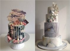 Left) Pretty but almost bohemian in its messiness, the drip cake has transcended being a celebration cake and is now an edgy wedding cake option. Right) Marbled cakes look a lot like actual marble slabs and have been a huge hit with brides who look to fashion and interior design for inspiration. Photos: Kek & Co