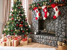 Kate Holiday Christmas Tree Photography Backdrops Gift Box Red Sock Brick Fireplace For Children Christmas Photo Background Diy Christmas Garland, Christmas Photos, Kids Christmas, Christmas Decorations, Holiday Decor, Newborn Christmas, Christmas Trees, Holiday Gifts, Merry Christmas