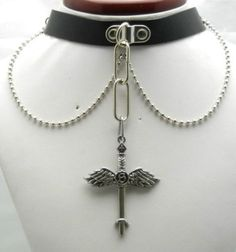 TEN455-60mm-Angel-Wings-Sword-Pendant-Leather-Collar-Choker-Necklace-Gothic