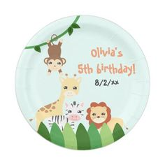 Cute Safari Birthday Paper Plate  sc 1 st  Pinterest & Wild Animal Safari Jungle Pattern Birthday Paper Plate | Jungle pattern