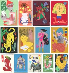 Birthday cards, Stephanie Wunderlich, cut outs, paper, patterns, color, colored paper, Some samples from the last years