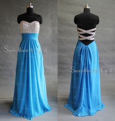 Processing+time:+18+business+days Shipping+Time:+7-10+business+days  Category:+Occasion+Dresses Material:+Chiffon Shown+Color:+Blue Silhouette:+A-Line Embellishment:+Rhinestone Hemline:+Floor-Length Neckline:+Strapless Sleeve+Length:+Sleeveless Back+Details:+Zipper-up Fully+Lined:+Yes...
