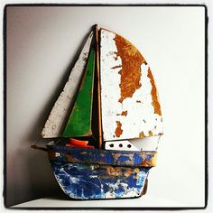 Coastal Vintage boat made from materials from old boats in oz.