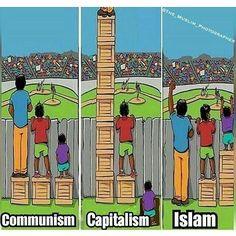 @muslimahkaffah  Beginilah ilustrasi mengenai perbandingan pemerintahan negara-negara di dunia modern dengan Islam. - Negara komunis mengandalkan kesetaraan dimana rakyat tidak diberi kebebasan untuk mengembangkan dirinya. Salah satu contohnya adalah penguasaan pasar dan modal oleh pemerintah. - Negara kapitalis menjunjung tinggi kebebasan/liberalisme. Sehingga orang yang kaya dan sukses akan terus menerus sukses sedangkan yang terpuruk jika tidak mampu bersaing akan terus terpuruk. Ini…