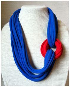 Red and blue t shirt scarf