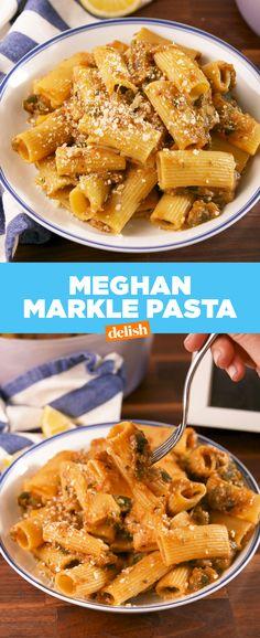Meghan Markle's go-to pasta recipe has the most genius sauce hack. Get the recipe at Delish.com. #recipe #easyrecipe #zucchini #pasta #meghanmarkle #theroyals #cheese #parmesan #dinner #easydinner #italian #italianfood