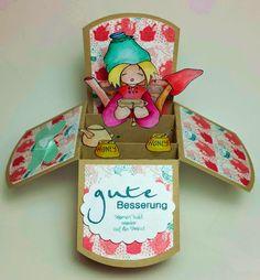 Pop-up-Box-Karte als Gute Besserungskarte mit einem Wichtel von WhiffofJoy, coloriert mit TwinklingsH2O.