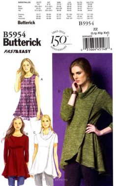 Butterick Sewing Pattern B5954 Women's L-XXL Tunics Top 16-26 fast and easy 5954