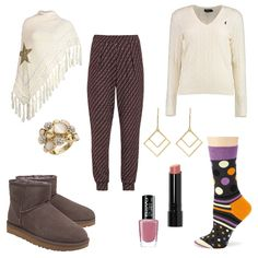 OneOutfitPerDay 2016-11-24 - #ootd #outfit #fashion #oneoutfitperday #fashionblogger #fashionbloggerde #frauenoutfit #herbstoutfit - Frauen Outfit Outfit des Tages Winter Outfit BeYu Bobbi Brown G&X Topstyle Gold Happy Socks Heine Jogginghose Lippenstift Nagellack Ohrringe OPUS Polo Ralph Lauren Poncho Pullover Ring Schal Socken TomShot Ugg Australia