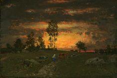 Théodore Rousseau - Soleil couchant à l'horizon d'une lande