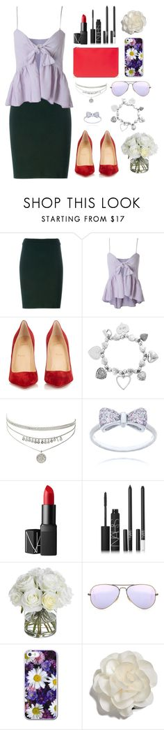 """""""red pumps"""" by mishl555 ❤ liked on Polyvore featuring Alaïa, Christian Louboutin, ChloBo, NARS Cosmetics, Diane James, Ray-Ban, Cara and Alexander Wang"""