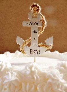 SALE  Ahoy Its A Boy  baby shower cake by KraftedSweetMemories, $15.00