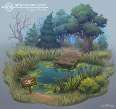 Variations of ponds from different places. I ponds ) Environment Painting, Environment Concept Art, Pond Drawing, Terrain Texture, Fantasy Village, Fantasy Art Landscapes, Hand Painting Art, Environmental Art, Pixel Art