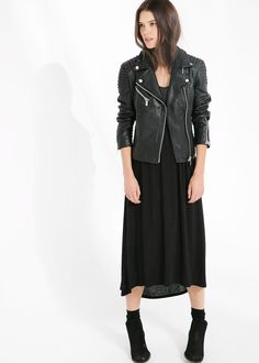 Textured-panel leather jacket