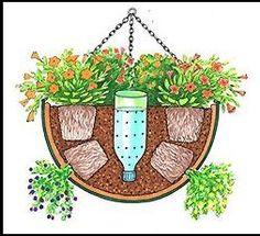 self watering hanging basket - Need to try this for the hanging baskets on the porch. self watering hanging basket - Need to try this for the hanging baskets on the porch. Container Flowers, Container Plants, Container Gardening Vegetables, Container Design, Lawn And Garden, Garden Art, Garden Tips, Diy Garden, Recycled Garden