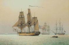"The American Continental 32-gun frigate ""Randolph""   at Charleston, South Carolina, August 1777.  Artist: Derek Gardner  #tallships"