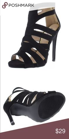 List! Black Vegan Suede Caged Heels! NIB! Sexy suede! Size 10. New! More coming soon! Qupid Shoes Heels