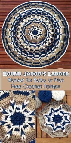 Round Blanket for Babies - Jacob& Ladder - Free Pattern Crochet Afghans, Easy Crochet Blanket, Crochet For Beginners Blanket, Afghan Crochet Patterns, Crocheting Patterns, Crochet Circles, Crochet Round, Free Crochet, Crochet Baby