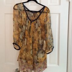 Gorgeous sheer top Gold Floral Sheer Top. Bottom has pink orange white pattern floral print. Large. 3/4 sleeves Aratta Silent Jorney Tops Blouses