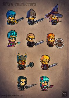 Cartoon RPG Characters 6 is bringing you completely new role playing costumes, new armors, weapons and looks, upgrade your game art now. Character Designer, Character Design Girl, Character Art, Weapon Concept Art, Game Concept Art, Fantasy Character Creator, Simple Cartoon Characters, 2d Rpg, 2d Character Animation