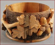 Untitled bowl with acorns *~ Wood Sculpture, Sculptures, Mighty Oaks, Art Carved, Carving Wood, Wood Carvings, Gourd Art, Made Of Wood, Wood Turning