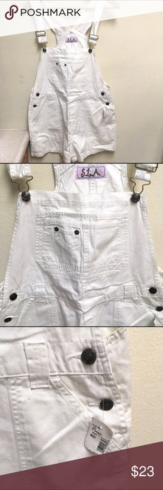 Vintage White Carpenter Overall Shorts Festival New with tags! Vintage 90's overalls! Labeled a large-- but best fit a medium! 6-8 Vintage Shorts Jean Shorts