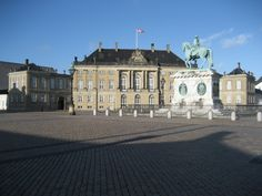 Statue of Frederick V by Jacques François Joseph Saly located at the centre of the Amalienborg Palace Square in Copenhagen, Denmark.