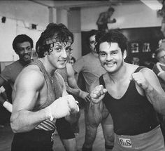 with Roberto Duran during the filming of 'Rocky II' Jackie Stallone, Sage Stallone, Frank Stallone, Sylvester Stallone Young, Rocky Stallone, Jennifer Flavin, Rocky Pictures, Stallone Movies, Brigitte Nielsen