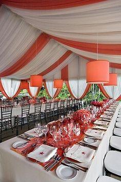 #Orange wedding reception... Wedding ideas for brides, grooms, parents & planners ... https://itunes.apple.com/us/app/the-gold-wedding-planner/id498112599?ls=1=8 … plus how to organise an entire wedding ♥ The Gold Wedding Planner iPhone App ♥