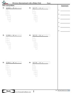 Division Worksheets - Division (International) with a Helper Grid worksheet Line Chart, Worksheets, Grid, Math, Math Resources, Literacy Centers, Countertops, Mathematics