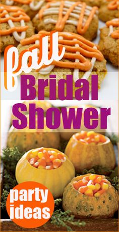 "Fall Bridal Shower Ideas. Festive ideas for a perfect fall party. Fall desserts, pumpkin themed foods and fall party decor. You will ""fall"" in love with these autumn themed ideas."