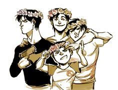 Flower crowns. It was obviously Dick's idea. Batboys. Dick Grayson, Jason Todd…