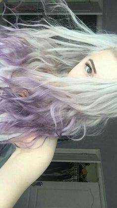 white roots, purple hair tips
