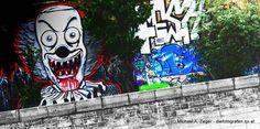 Stadtmalerei - Morbides Wien in Bunt Graffiti, Clowns, Vienna, Bunt, Street Art, Photos, Canvas, Funny, Graphite