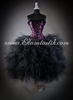 Size large plum and black burlesque tulle ball gown by Glamtastik, $650.00